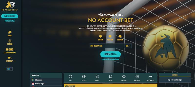 No account bet lobby